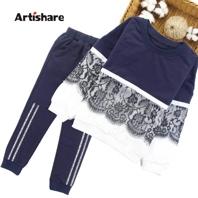 Artishare filles Sport costume hiver printemps enfants Sport tenues pour filles dentelle adolescentes enfants filles vêtements 8 10 12 14 ans