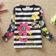 retail FLAGS kid brand 2015 new t shirt baby girl roupa infantil long sleeve t-shirt lace child clothing wear top nova F4466 MIX