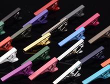 200 pz/lotto Colorful 4 centimetri Cravatta Cravatta Clip di Spille Skinny Lucido Tie Bar Chiusura Sottile Cravatta Clip di Regalo di Festa di Nozze uomini Accessorio Dei Monili