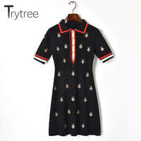 Trytree Summer Dress Elegant Casual Women Embroidery bee Turn down Collar shirt dresses Buttons Knitting Mini Office Lady Dress