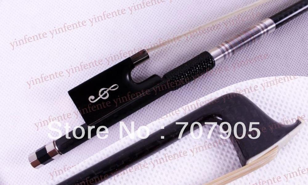 1x New Violin Bow Black Carbon Fiber High quality Silver Color Bow string 4 4 violin bow carbon fiber flower inlaid silver color bow string xt 103