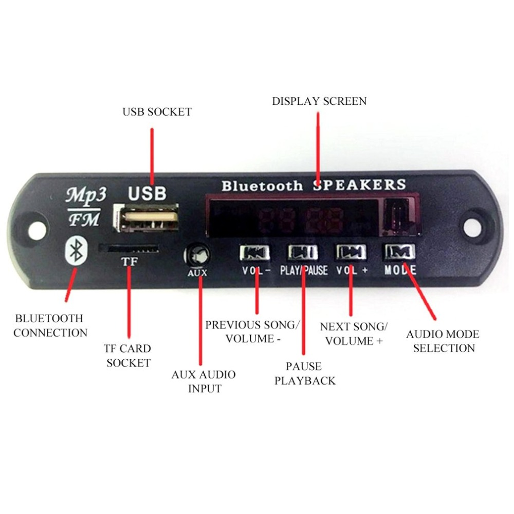 Lossless Bluetooth Mp3 Wma Decoder Board With Remote Control Audio Fm Circuit Using A Radio Electronic Module Support Aux Tf Usb