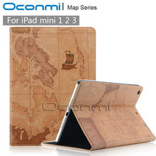 Fahion World Map Leather case for Apple iPad mini 1 2 3 with magnetic wallet stand case for ipad mini 2 smart case cover
