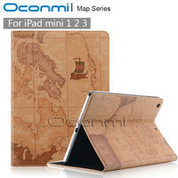 Fahion World Map Leather Case For Apple IPad Mini 1 2 3 With Magnetic Wallet Stand