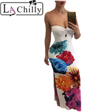 La Chilly summer bodycon Dresses party Autumn dress Elegant 2017 Formal Evening Sexy Twist Front Bandeau Maxi Floral dress long