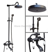 Black Oil Rubbed Bronze Wall Mounted Bathroom Bath Tub Mixer Tap With 7 7 Round Shower