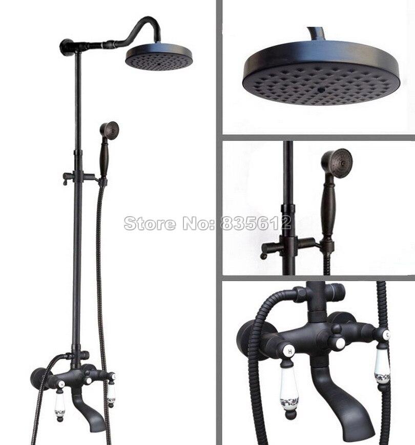 Black Oil Rubbed Bronze Wall Mounted Bathroom Bath Tub Mixer Tap with 7.7 Round Shower Head Rain Shower Faucet Set Whg627