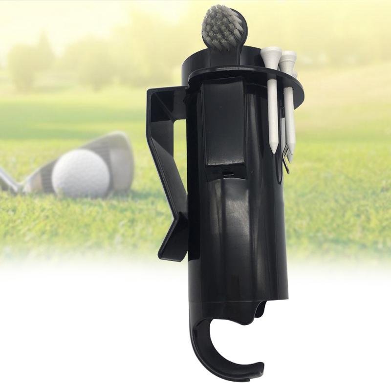Hot Portable Golf Ball Holder Golf Tees Pro Clip  Divot Tool Storage Box Golf Cleaning Tool With Brush Gift For Golfer