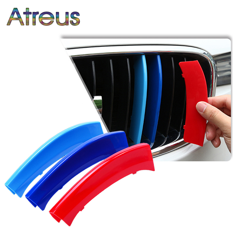 Atreus 3pcs 3D Car Front Grille Trim Strips Cover Motorsport Stickers For BMW F30 F10 3 5 Series M Power Performance Accessories m motorsport m power car front hood grille emblem led light for bmw universal