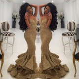 conew_2016 gold arabic sequins mermaid split evening dresses spaghettis straps mermaid gold evening gowns lace appliques open back prom gowns_conew1