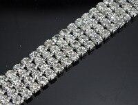 Free Shipping 4 Rows 4mm 888 Rhinestone Chain Cake Ribbon Trim Wedding Decoration X 1 Yard