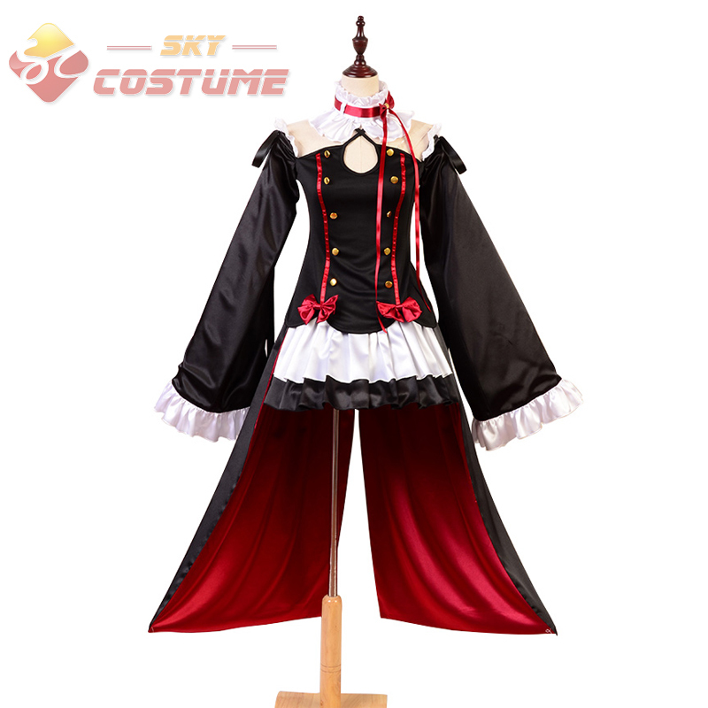 Seraph of the End Vampires Krul Tepes Black Red Uniform Full Set For Adult Womens Girls Halloween Party Anime Cosplay Costume hot sell free shipping seraph of the end krul tepes pink long clip ponytail cosplay party wig hair