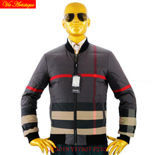men's parkas homme winter coat and jacket light warm print grey red Scotland plaid oversize 2017 winter new fashion parka men VA
