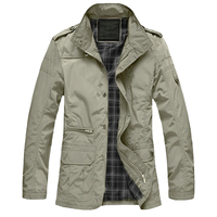 M 5XL Men Big Size Casual Long Jacket Spring Autumn Male Business Windbreak Thin Outwear Parka