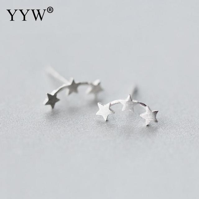 2017 Fashion 925 Sterling Silver Star Neckband Stud Earrings For Women Wedding F