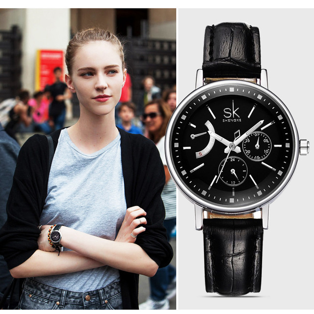 Shengke Top Brand Women Dress Wristwatch Leather Strap Band Fashion Quartz Watch Elegant Wristwatches Ladies Hours 2018 New SK kezzi brand women dress watches 3atm waterproof leather strap fashion quartz watch student wristwatches ladies hours 2016 new