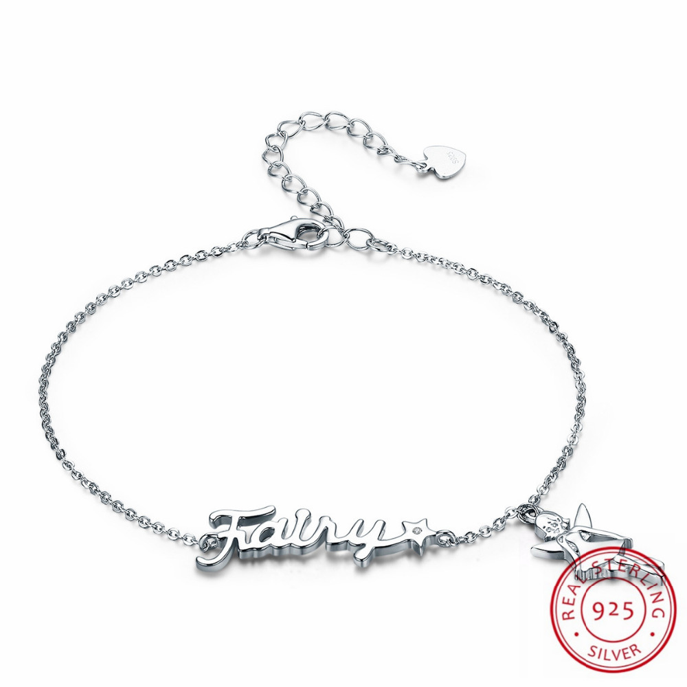 LJ&OMR 100% New 925 Sterling Silver Bracelets for Women Girls Fanscinating Fairy Link Chain Bracelet Fashion Jewelry Gifts