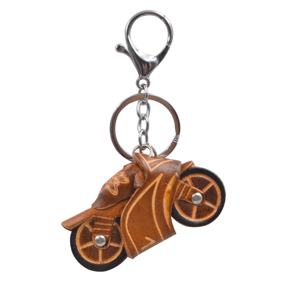 Youngtulip Cow Leather Handmade Motorcycle Key Chain Vintage Cowhide Car Handbag Hanging Accessories Strong and Durable Ornament