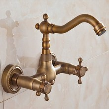 купить Kitchen Faucet Wall Mounted Antique Brass Dual Handles Swivel Spout Bathroom Basin Sink Mixer Tap KD1259 дешево