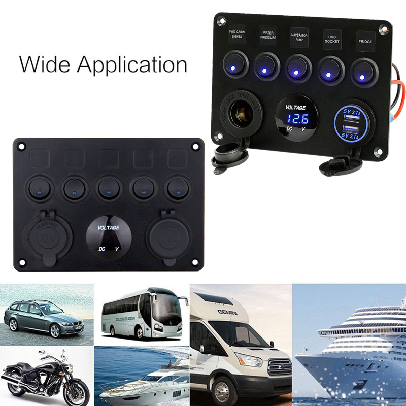 Image 4 - Inline Fuse Box 5 Gang Blue LED Rocker Switch Panel Voltmeter Dual USB Charger Socket 12V 24V Vehicle Yacht Ship Car Boat Marine-in Car Switches & Relays from Automobiles & Motorcycles