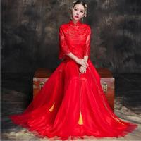 Chinese Lace Wedding cheongsam Qipao Red Sexy Cheongsam Modern Chinese Traditional Wedding Dress Women Vestido Oriental Collars