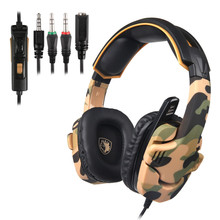 SADES Camouflage SA930 PS4 Headphones 3.5mm Stereo Gaming Headset with Microphone Mic for Computer/Cell Phone/Tablet/New Xbox цена 2017