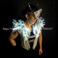 Moda Luminoso Llevado Etapa Mostrar Disfraces Ropa DJ Trajes Cantante Masculino Cristal LED Con Led Máscara