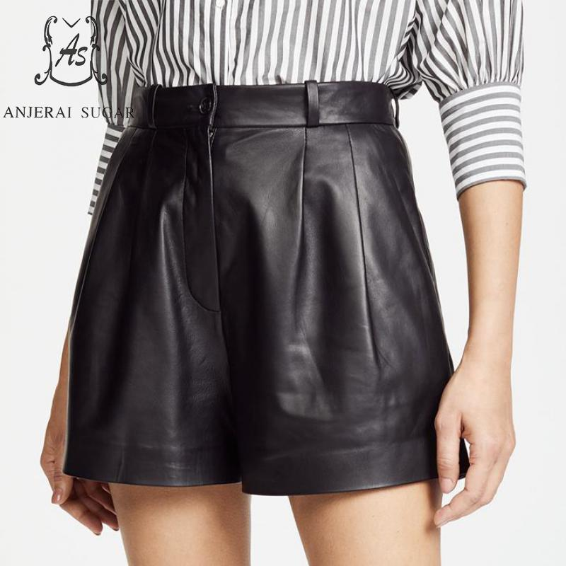 Spring Summer Shorts Women Sheepskin Genuine Leather Shorts Modis High Waist Pocket Short Feminino Black Sexy Loose Hot Shorts