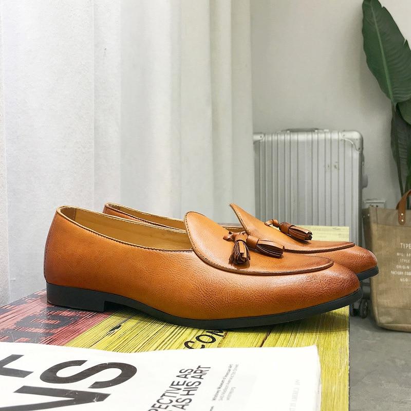 British Vintage Men Casual Shoes Fashion Male Shoes Leather Men Loafers Leisure Moccasins Slip On Men 39 s Driving Shoe in Men 39 s Casual Shoes from Shoes
