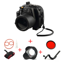 Meikon 40M/130FT Underwater Waterproof camera Housing Case for Canon EOS 650D 700D w/ Diving handle w/ Fisheye w/ Red Filter