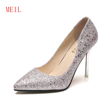 Women Pumps Stiletto Sequins Bling High Heels Silver Shoes Woman Formal Sexy for Spring Fashion 2019 New
