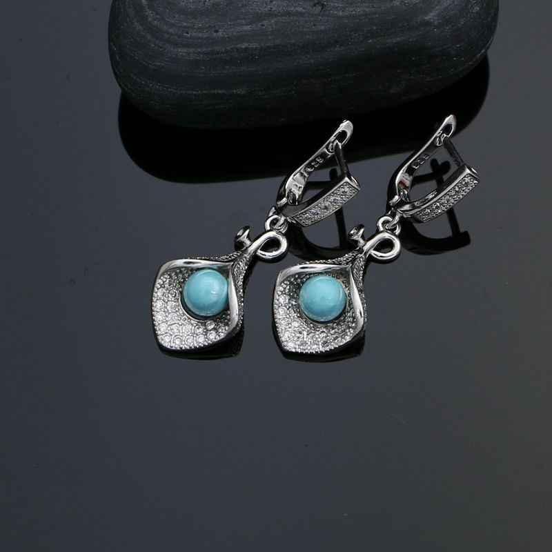 925 เงินสเตอร์ลิงชุดเครื่องประดับสำหรับอุปกรณ์เสริมสำหรับผู้หญิง Blue Pearl ลูกปัดคริสตัลสีขาวต่างหูสร้อยคอ Peandant ชุดแหวน
