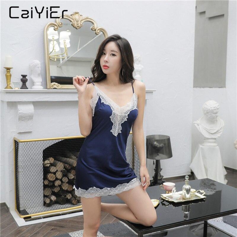 195db96682826a6 Caiyier пикантные кружево лоскутное ночное Sleevless слинг пижамы платье  мини шелк ночные рубашки для девочек Летняя Домашняя одежда Атлас  Sleepdress .