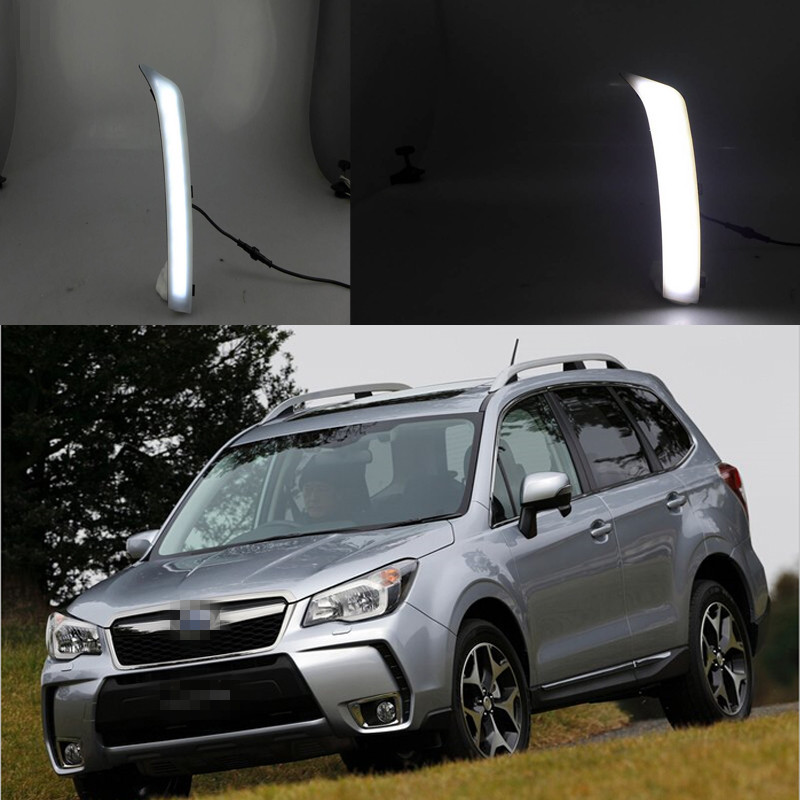 1 Set LED Daytime Running lights front Driving fog lamps DRL for Subaru Forester 2014 led front fog lights for honda cr v pilot 2012 2013 2014 car styling round bumper drl daytime running driving fog lamps
