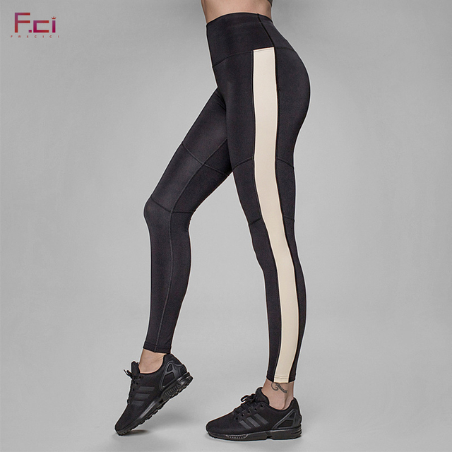 FRECICI  Women Push Up Leggings Side Stripe Slim Pants High Waist Black Leggings Workout Fitness Active Pants Sporting Pants