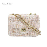 Tweed Chains Bag Small Messenger Bag Flap Bag Women Knitting Party Handbag Luxury Brand Fashion Lady