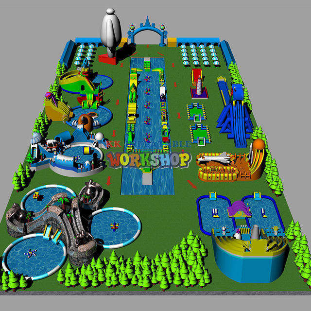 China The land giant inflatable pool park manufacturers