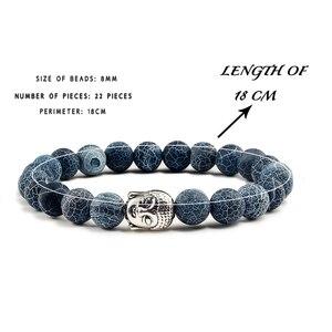 Image 5 - טרנדי טבעי אבן לבה גדיל צמידי מתכת בודהה ראש חרוזים תפילת קסם צמידים & צמידי תכשיטי עבודת יד מתנות