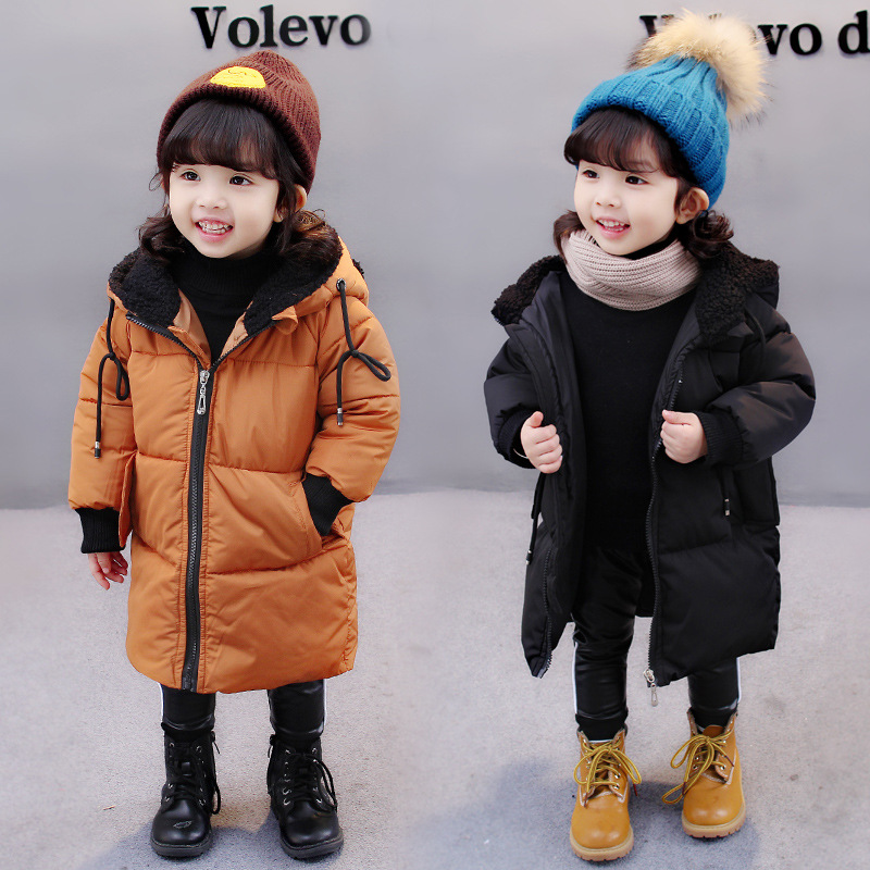 Baby Kids Long Cotton-Padded Coat 2018 Fall Winter New Little Girls Fashion Hooded Wadded Jacket Children Casual Outerwear X165 long section men s solid cotton padded wadded jacket fashion clothes trench coat hooded jackets casual outerwear slim parka 3xl
