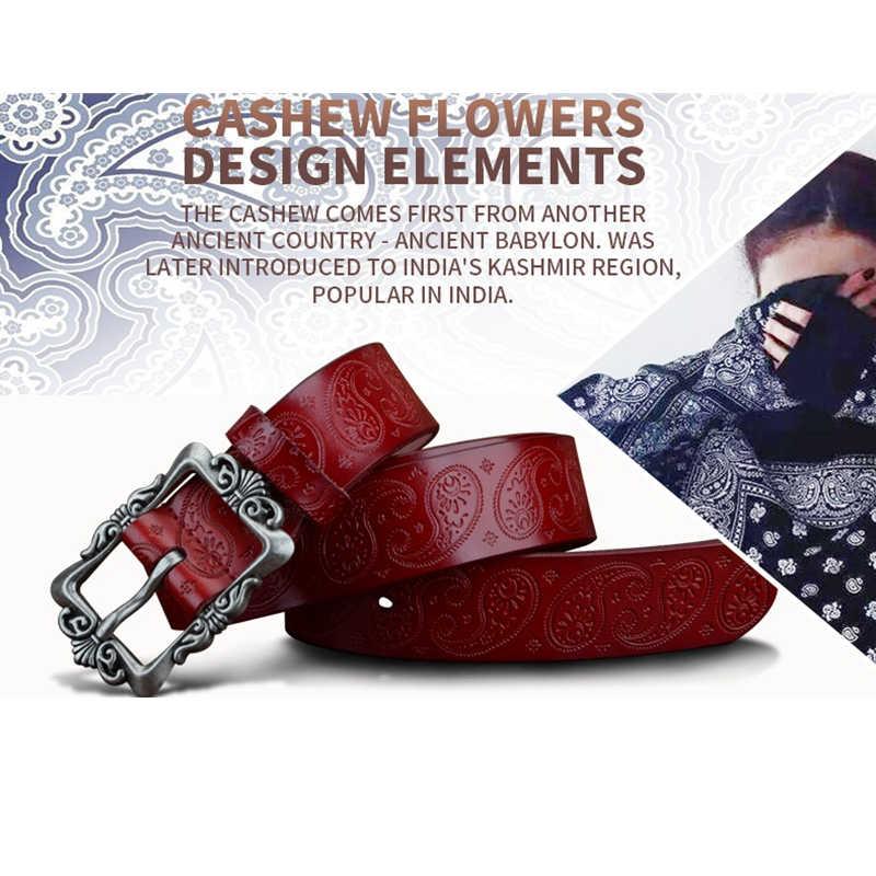 COWATHER 2019 פרה אמיתי עור חגורות לנשים יוקרה רצועת נקבה חגורת קשיו פרחים באיכות גבוהה פין אבזם 3.2cm XF022