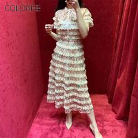 COLOREE High Quality Chic Summer Midi Dress 2019 Sexy See Through Mesh Lace up Ribbon Neck Ruffles Cake Party Dress
