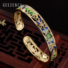 925 Sterling Silver Cloisonne Handmade Craft Hollow Flower Open Bangles Vintage Ethnic Bracelet Bangles Fine Jewelry for Women uglyless real 999 silver fine jewelry women simple fashion thick bangles ethnic fish open bangle handmade engraved lotus bijoux