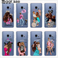 Black Brown Hair Baby Mom Girl Case For Samsung Galaxy J4 J6 Plus J8 2018 J7 Duo Max J3 2017 Funda TPU For Samsung J5 2017 Case(China)