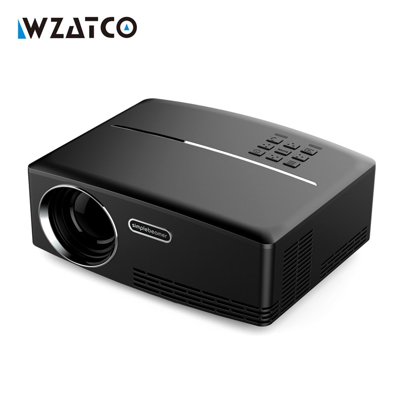 WZATCO GP80 1800lumens Portable HD home cinema LED 3D Projector LCD Game Digital Mini Projectors support 1080P Proyector Beamer new cheap hd tv home cinema projector hdmi lcd led game pc digital mini projectors support 1080p proyector 3d beamer