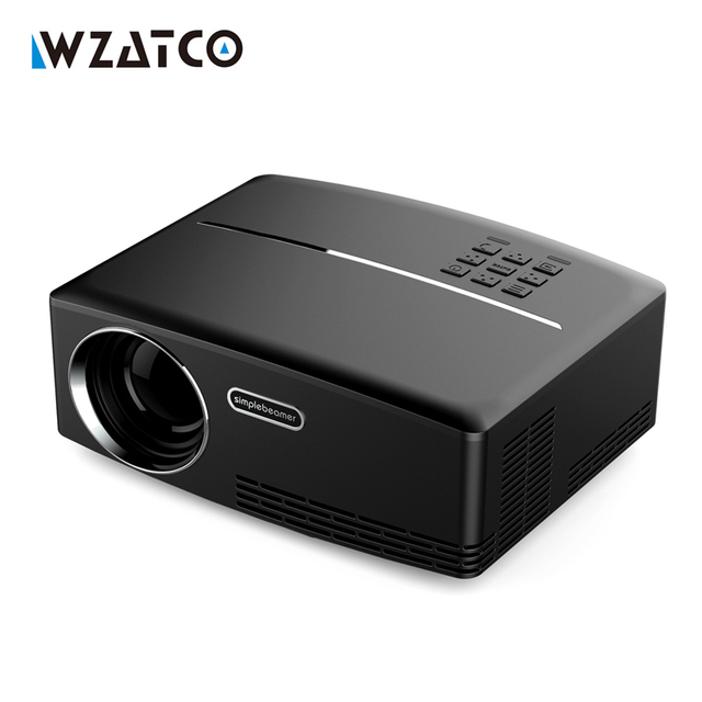 Best Offers WZATCO GP80 1800lumens Portable HD home cinema LED 3D Projector LCD Game Digital Mini Projectors support 1080P Proyector Beamer