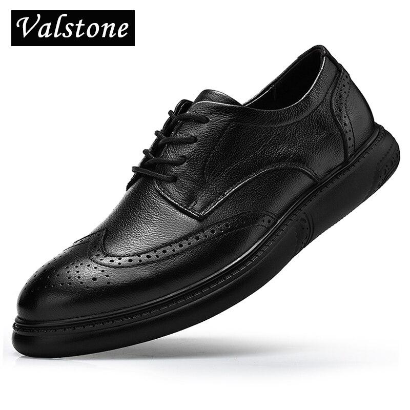 Valstone Luxury Men s fashion brogue Genuine leather Black dress shoes business formal shoes flats Quality