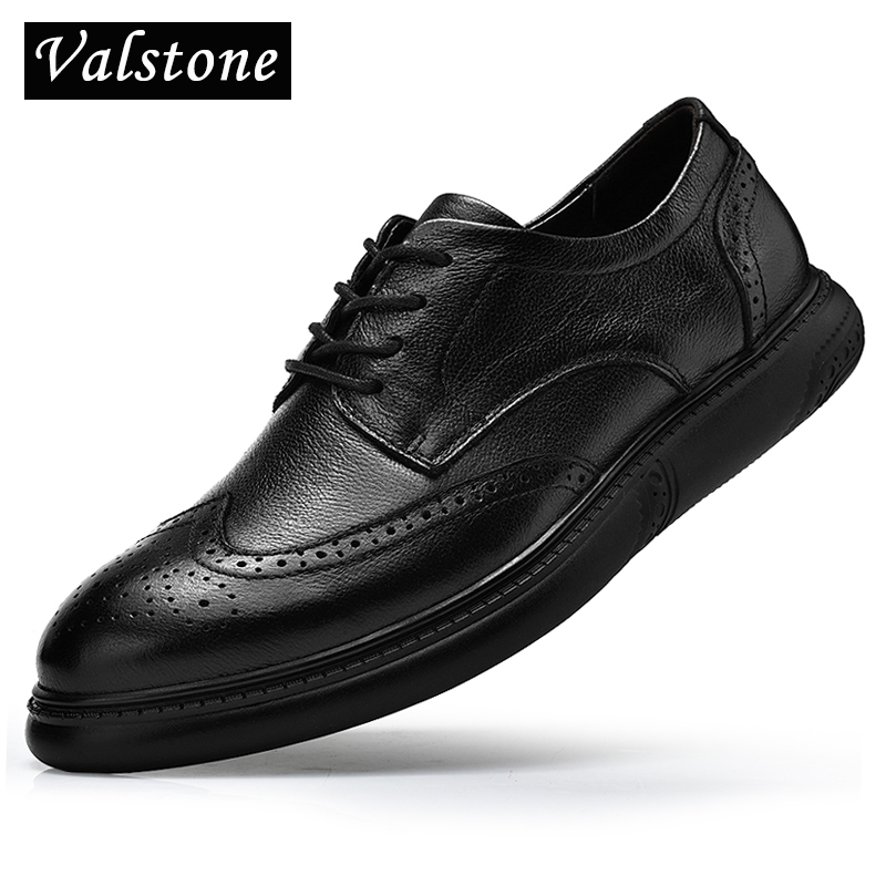 Valstone الفاخرة الرجال الأزياء البروغ حذاء أيرلندي جلد طبيعي أسود اللباس أحذية الأعمال الرسمي أحذية الشقق جودة ديربي hombres-في أحذية رجالية غير رسمية من أحذية على  مجموعة 1