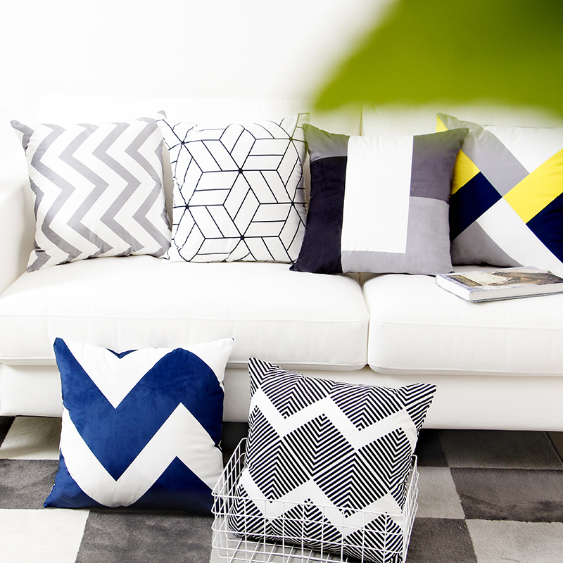 Aliexpress.com : Buy Grey Blue Black Geometric Cushion