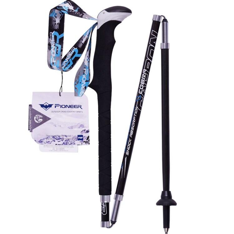 Bâtons de ski de haute qualité pliable béquille bastones Trekking bâtons de marche nordique en carbone canne de marche alpenstock trekking