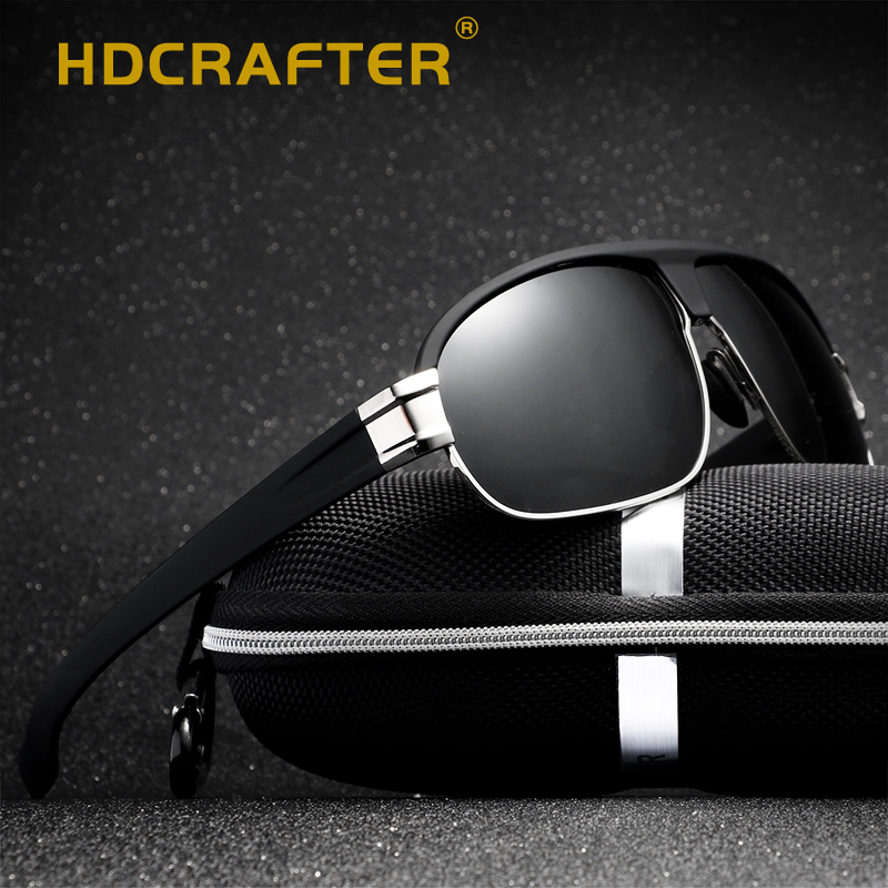 HDCRAFTER 2018 Pilot Sunglasses Men Polarized Uv400 High Quality Male Sun Glasses Men Retro Vintage Polarized Driving Sunglasses